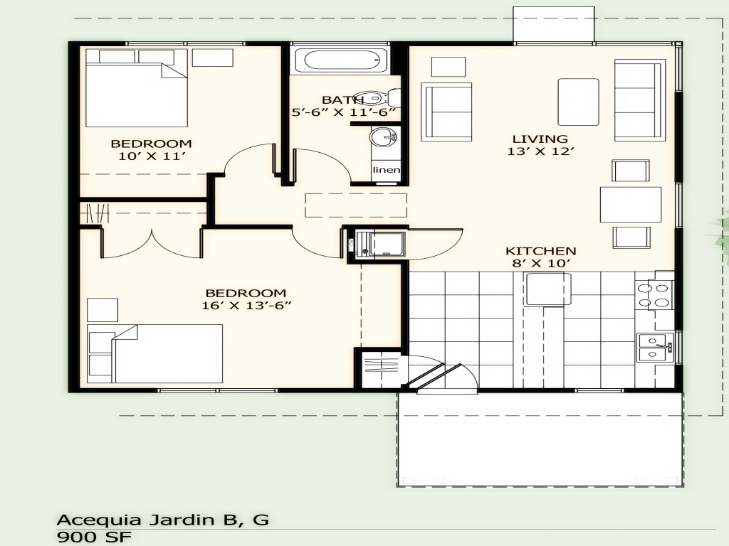 900 square foot house plans simple two bedroom 900 sq ft for Simple 2 bedroom house