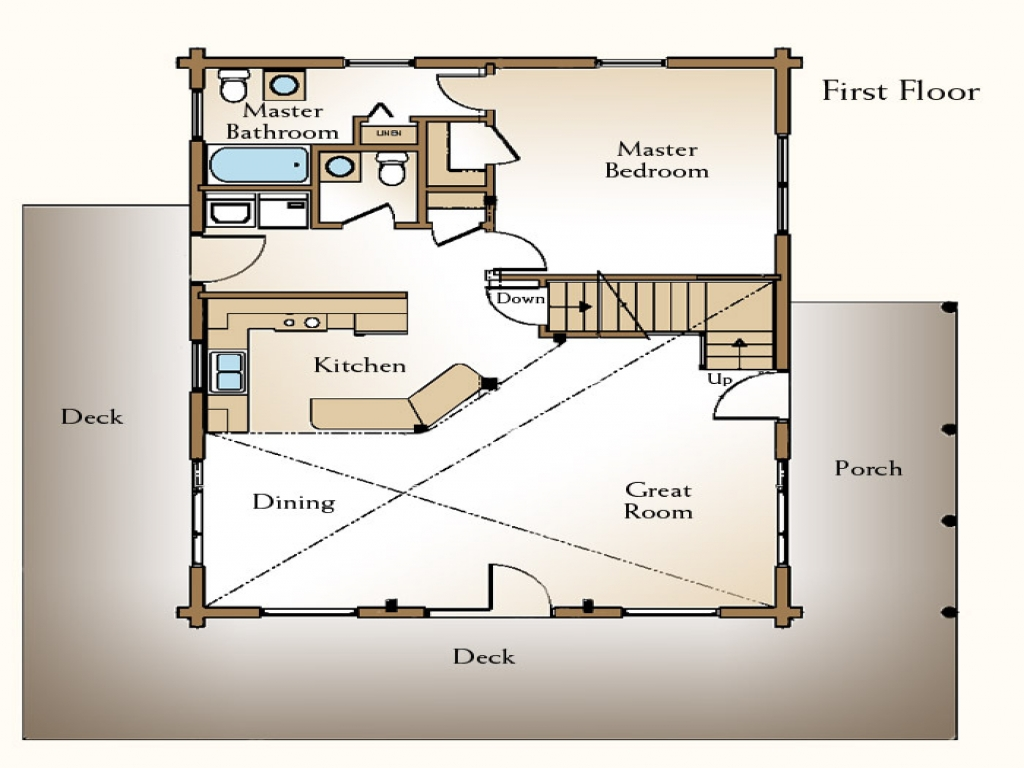 Small log cabin floor plans with loft rustic log cabin for Log cabin plans with loft