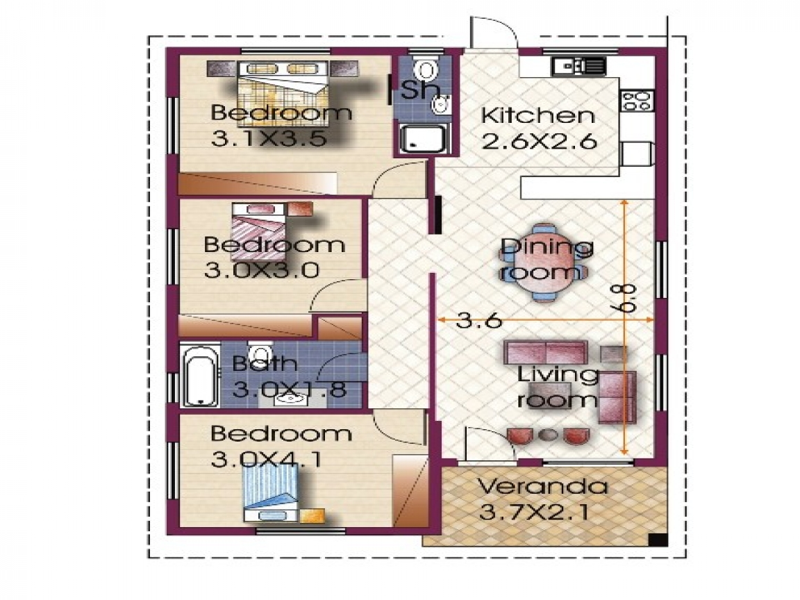 Modern Bungalow House 3 Bedroom Bungalow House Plan Three