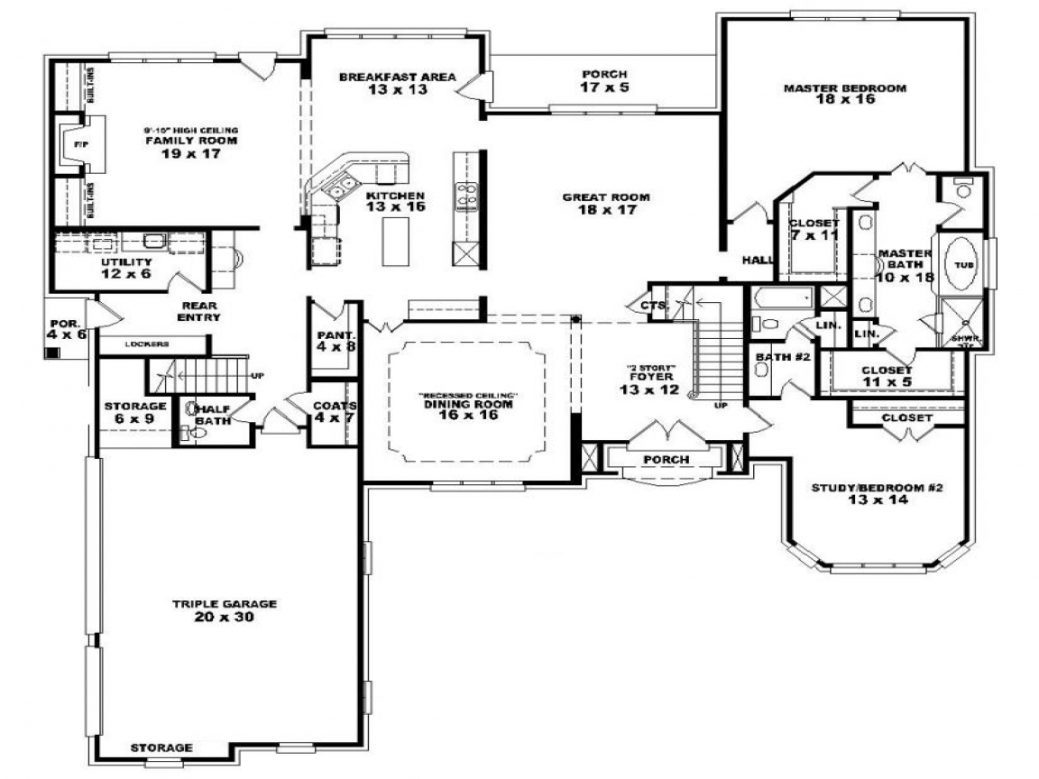 4 bedroom one story house plans our two bedroom story for Four story house plans