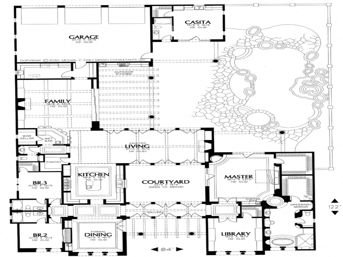 Small spanish style house plans spanish house plans with for Adobe house plans with courtyard