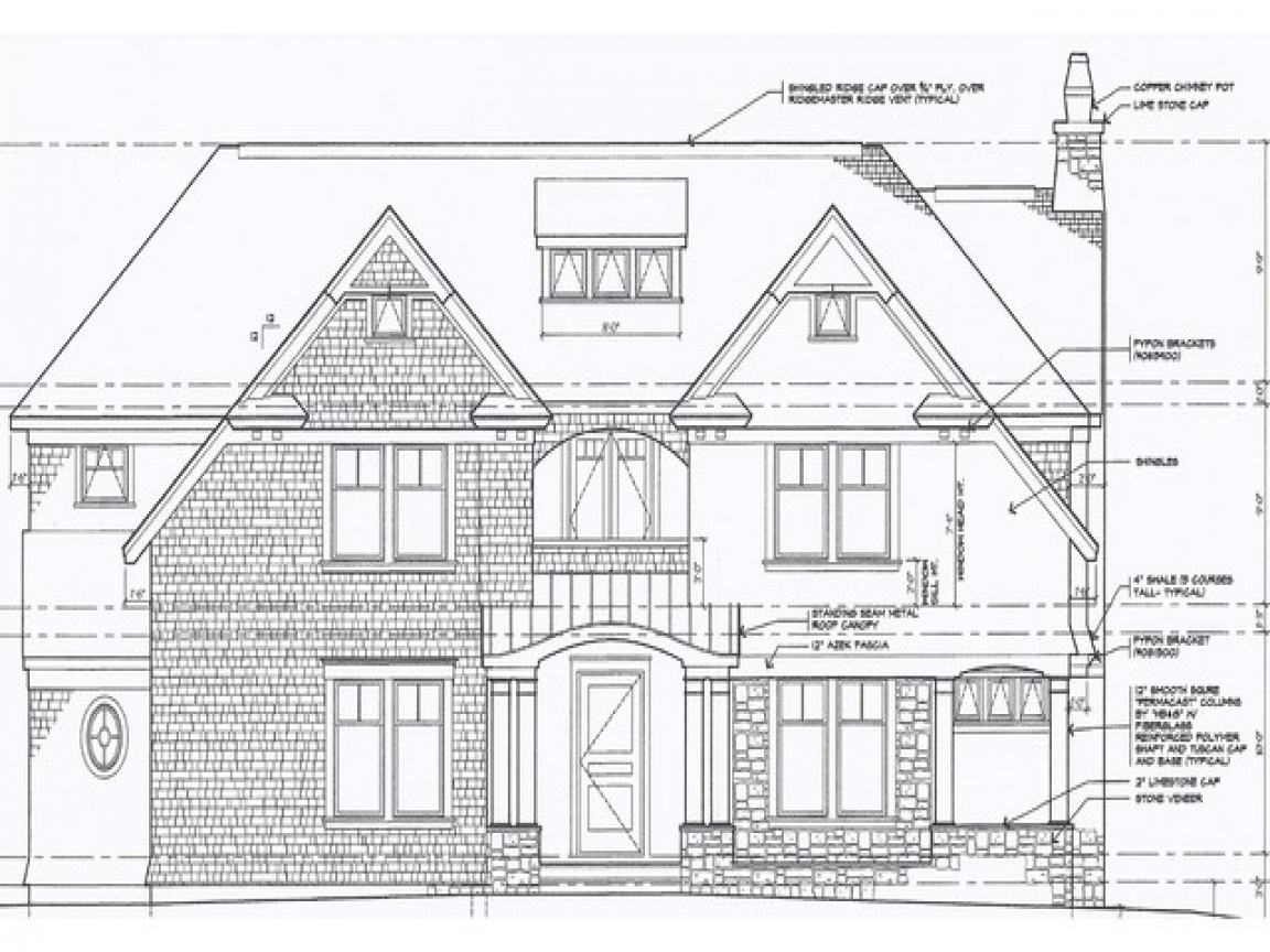 Front Elevation Antique : Architectural exterior elevation drawings front