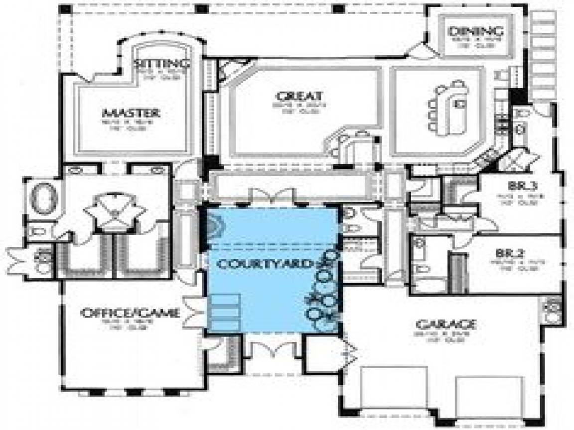 South west house plans with courtyard small southwestern Modern courtyard house plans