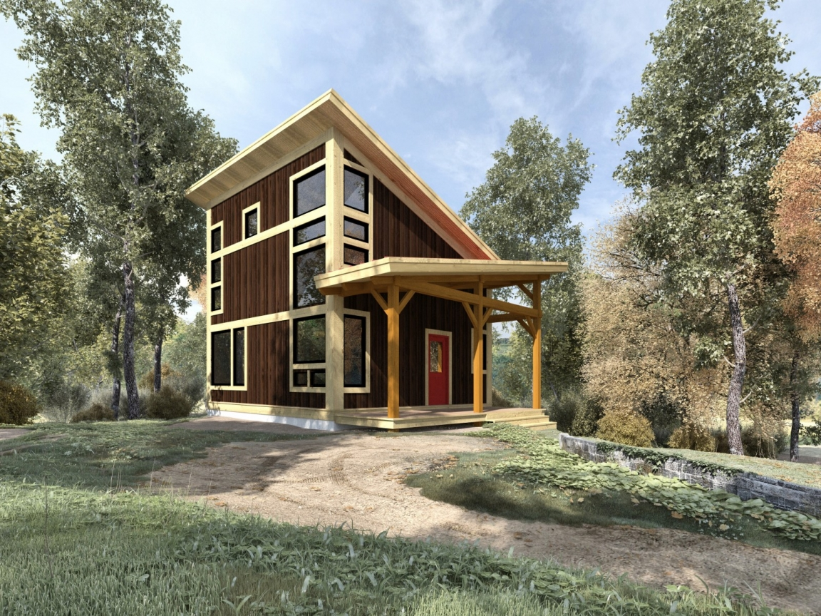 Small post and beam cabins small timber frame cabin plans for Post and beam ranch homes