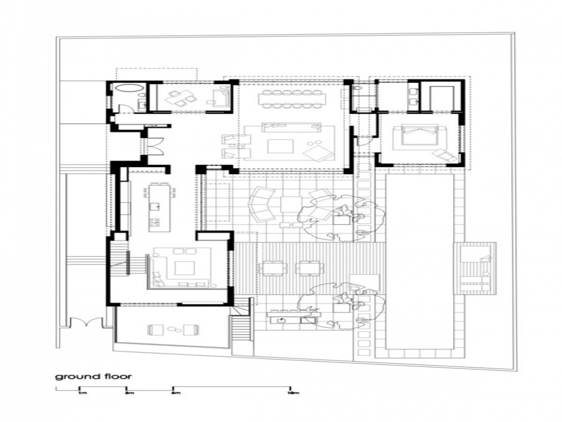 Modern family house floor plan modern grey tile floor for Modern family house floor plan