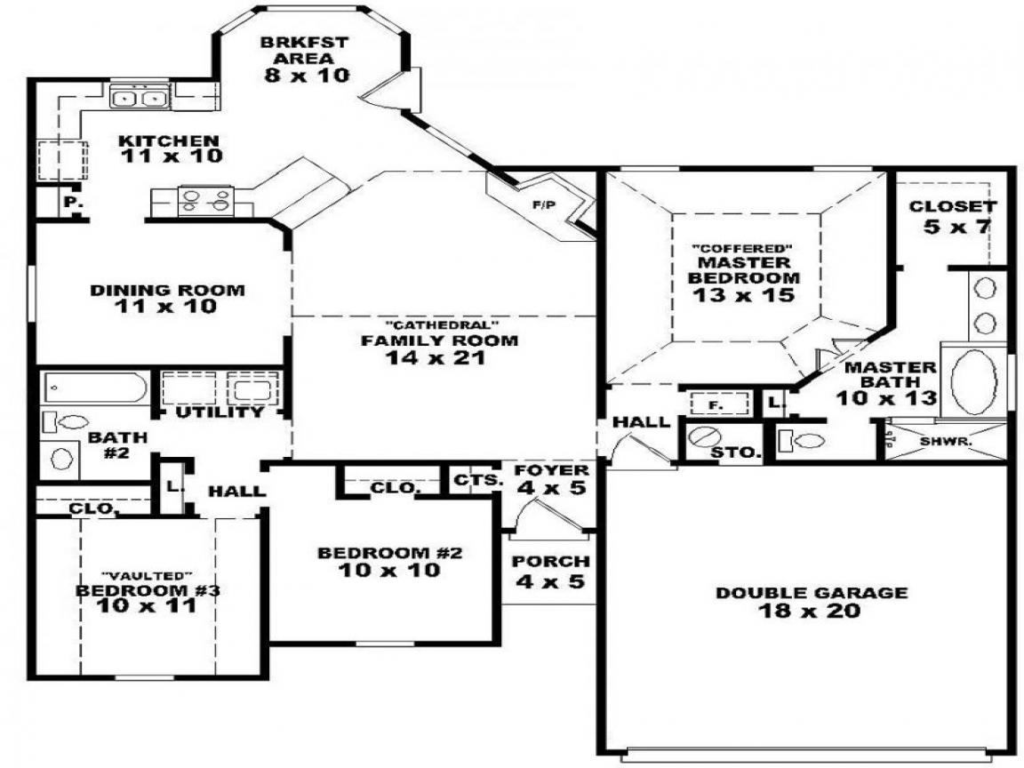 One story 3 bedroom 2 bath house plans 3 bedroom apartment for 3 story apartment floor plans