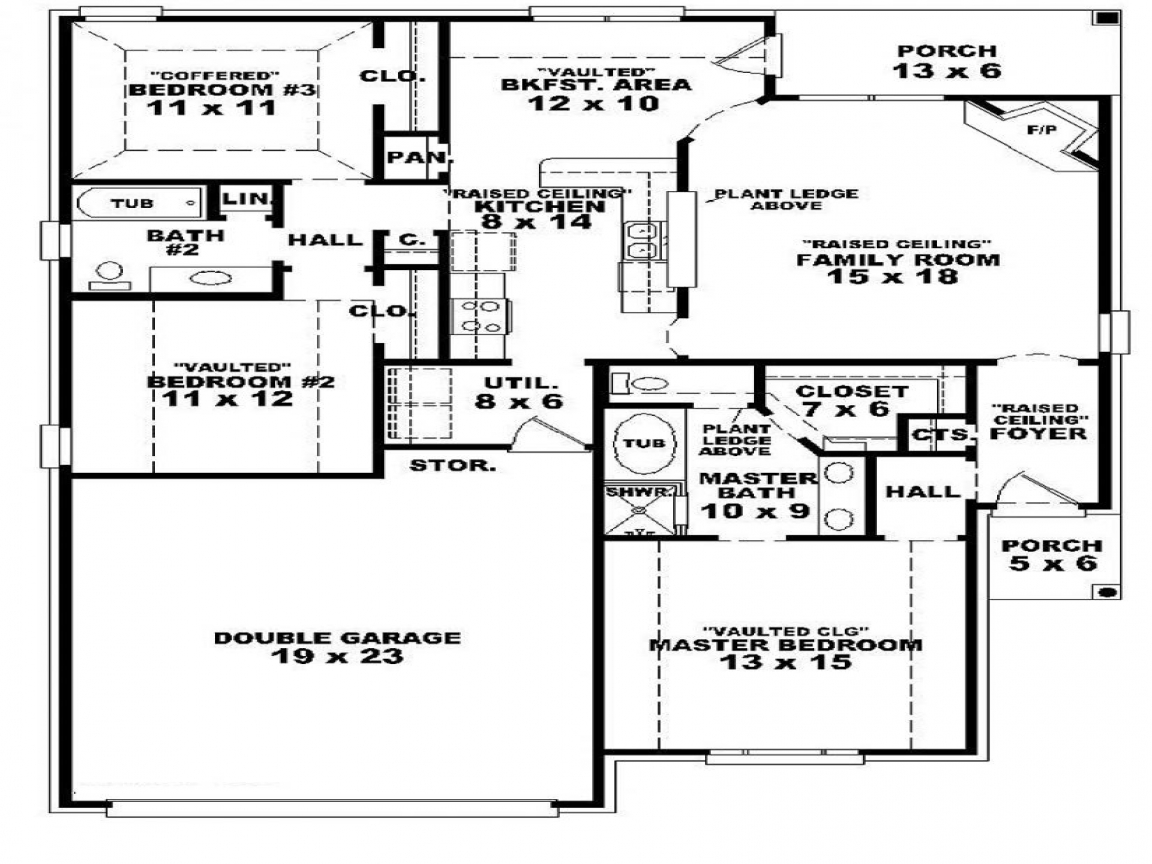 4 bedroom house 3 bedroom one story house plans three for 4 bedroom house plans one story