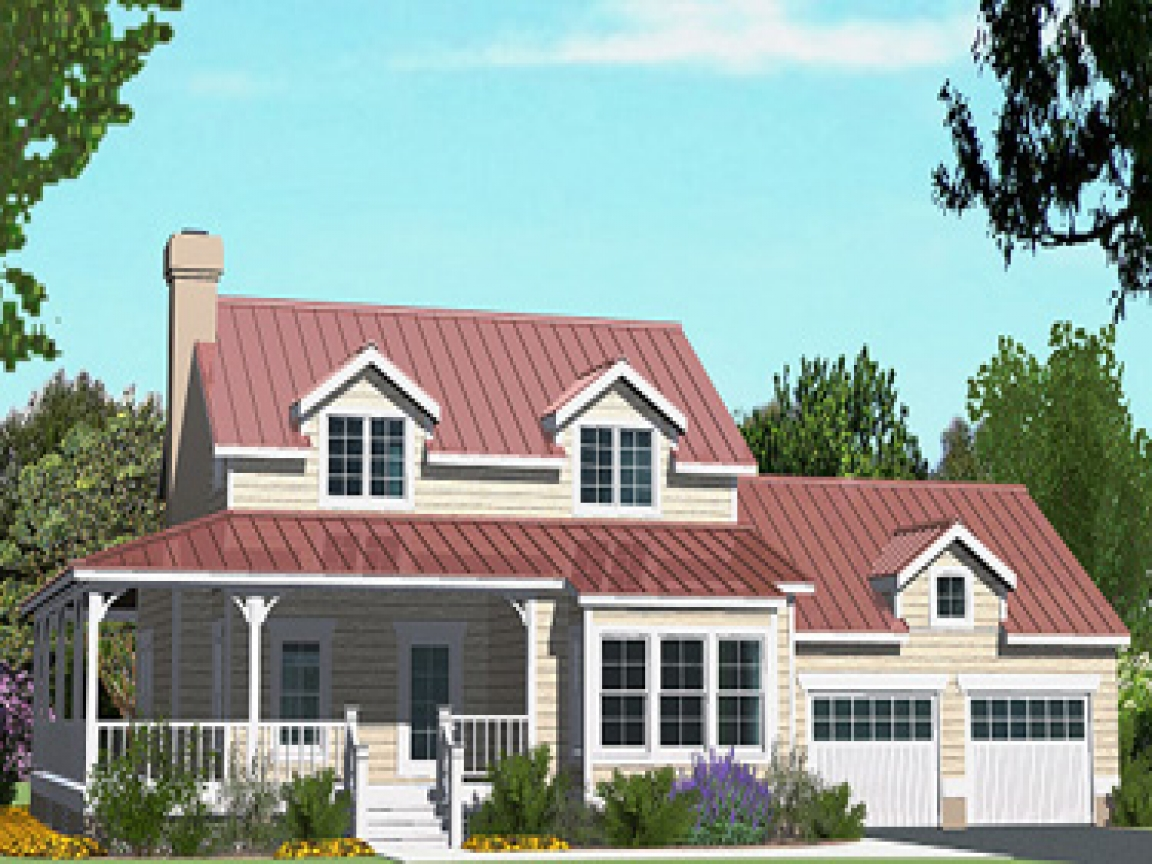 Cottage house plans with wrap around porch cottage house - Bungalow house plans with attached garage ...