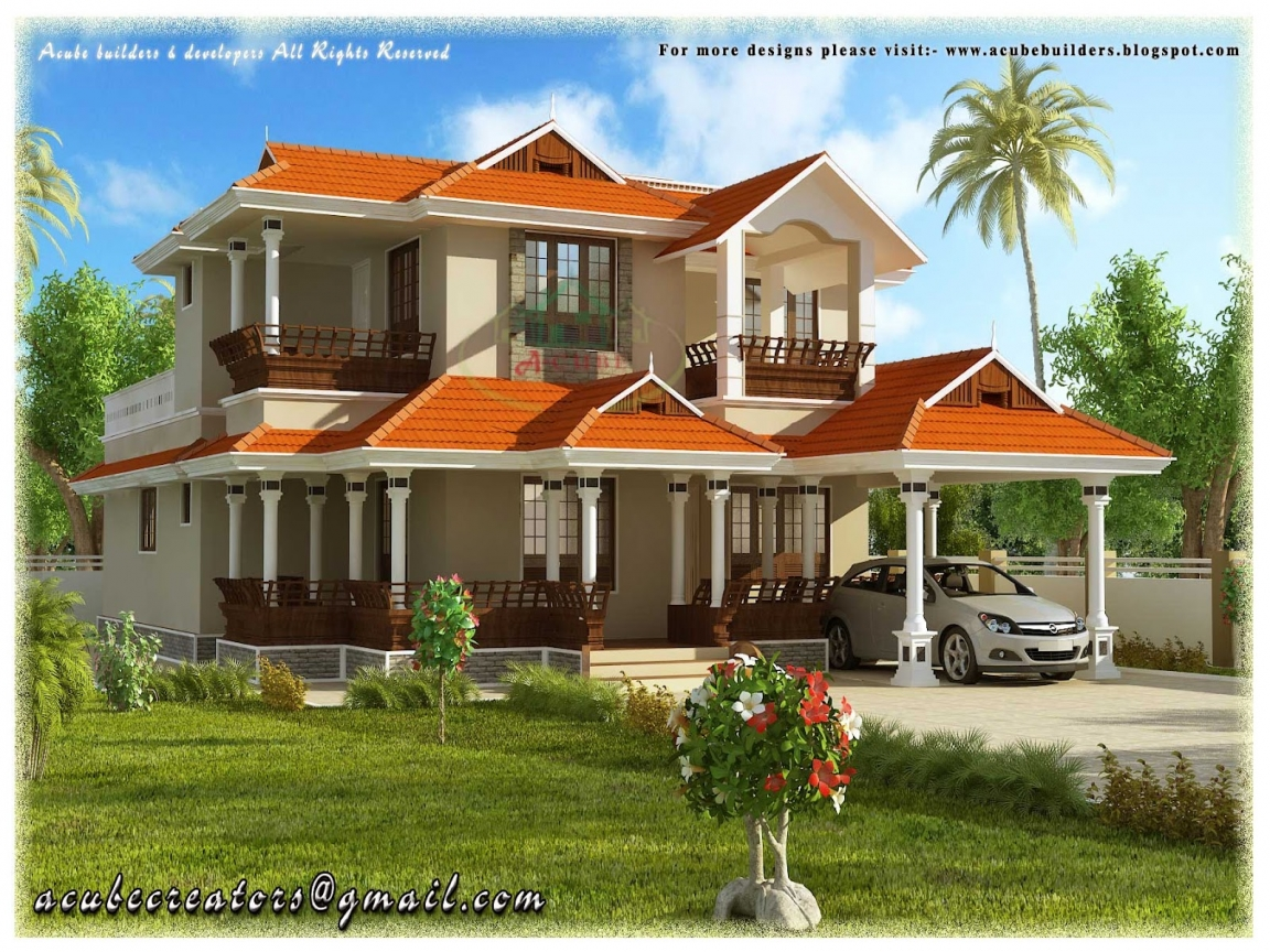Big 2 story houses 2 story beautiful house kerala style for Pretty two story houses