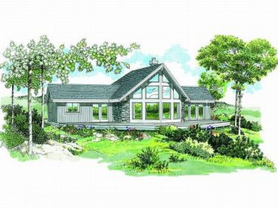 lakefront cottage plans with green grass   Lakefront House Plans View Plans Lake House, water front ...