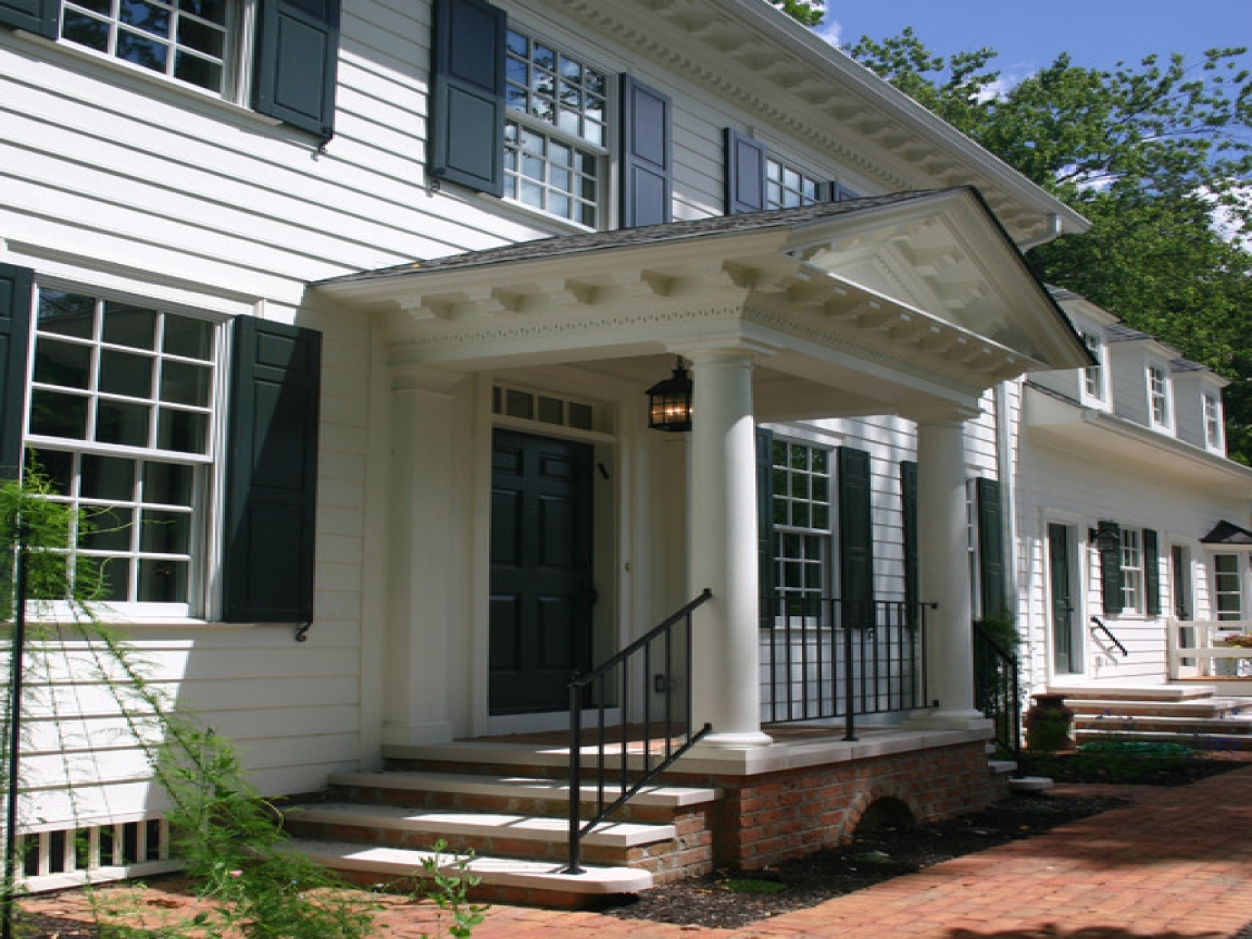 Colonial portico front porch designs spanish front porch for Colonial home plans with porches
