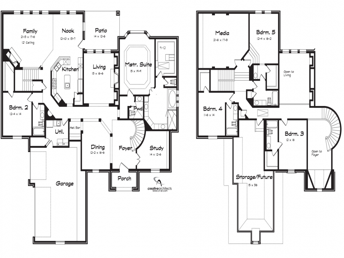 5 bedroom floor plans 2 story