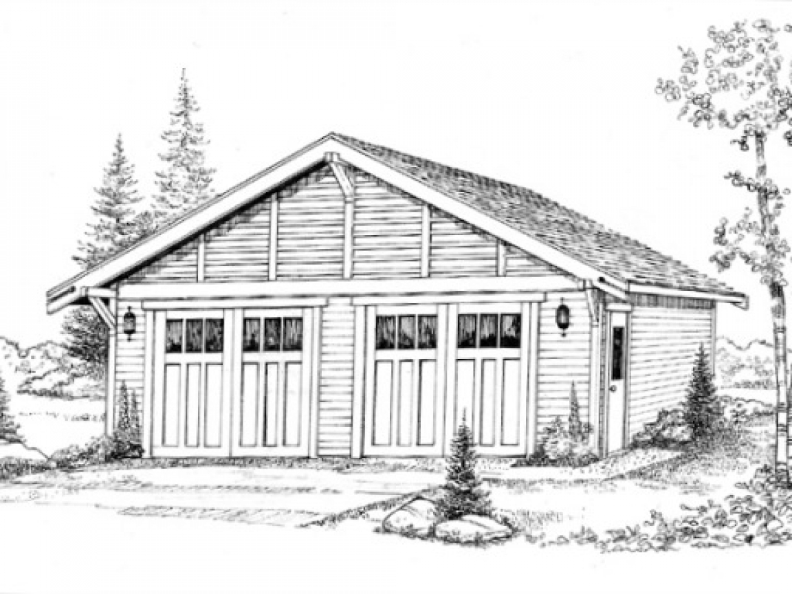 Craftsman bungalow garage plans detached garage craftsman for Bungalow plans with garage
