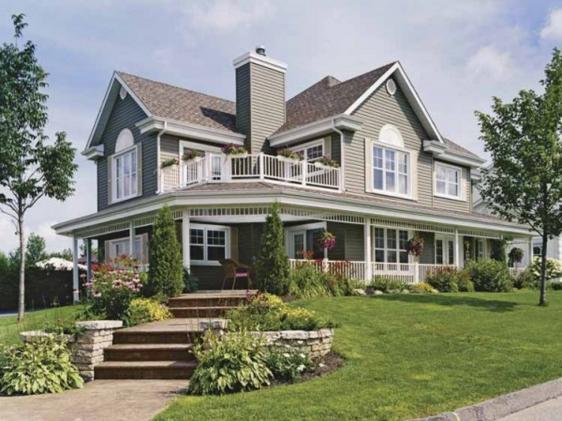 Country home house plans with porches country house wrap for Ranch home with wrap around porch