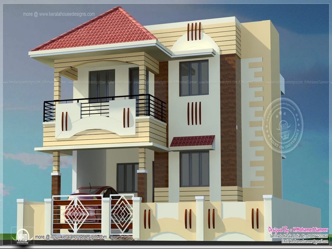 Ranch home elevation designs indian home elevations for Middle class house plans with photos
