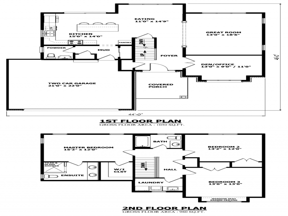 Tiny Home Designs: Inexpensive Two-Story House Plans Two Storey House Plans