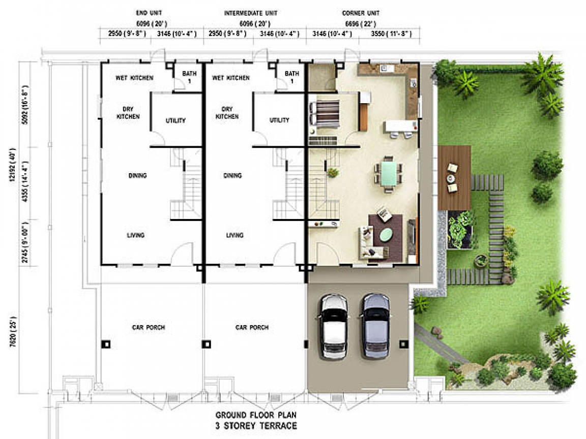 Terrace house floor plan texas house plans terrace house for Texas house floor plans