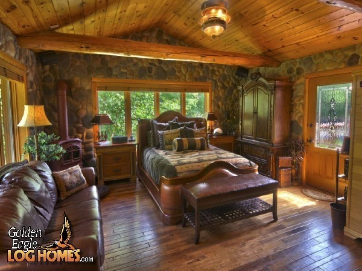 Log Cabin Romantic Bedrooms Log Home Master Bedroom Log