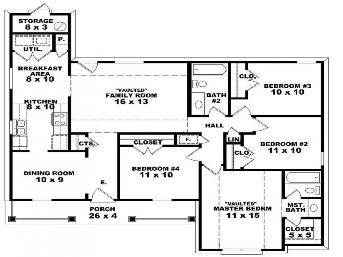 Long lots blueprints 3 bedroom 1 story 4 bedroom 2 story for Long ranch house plans