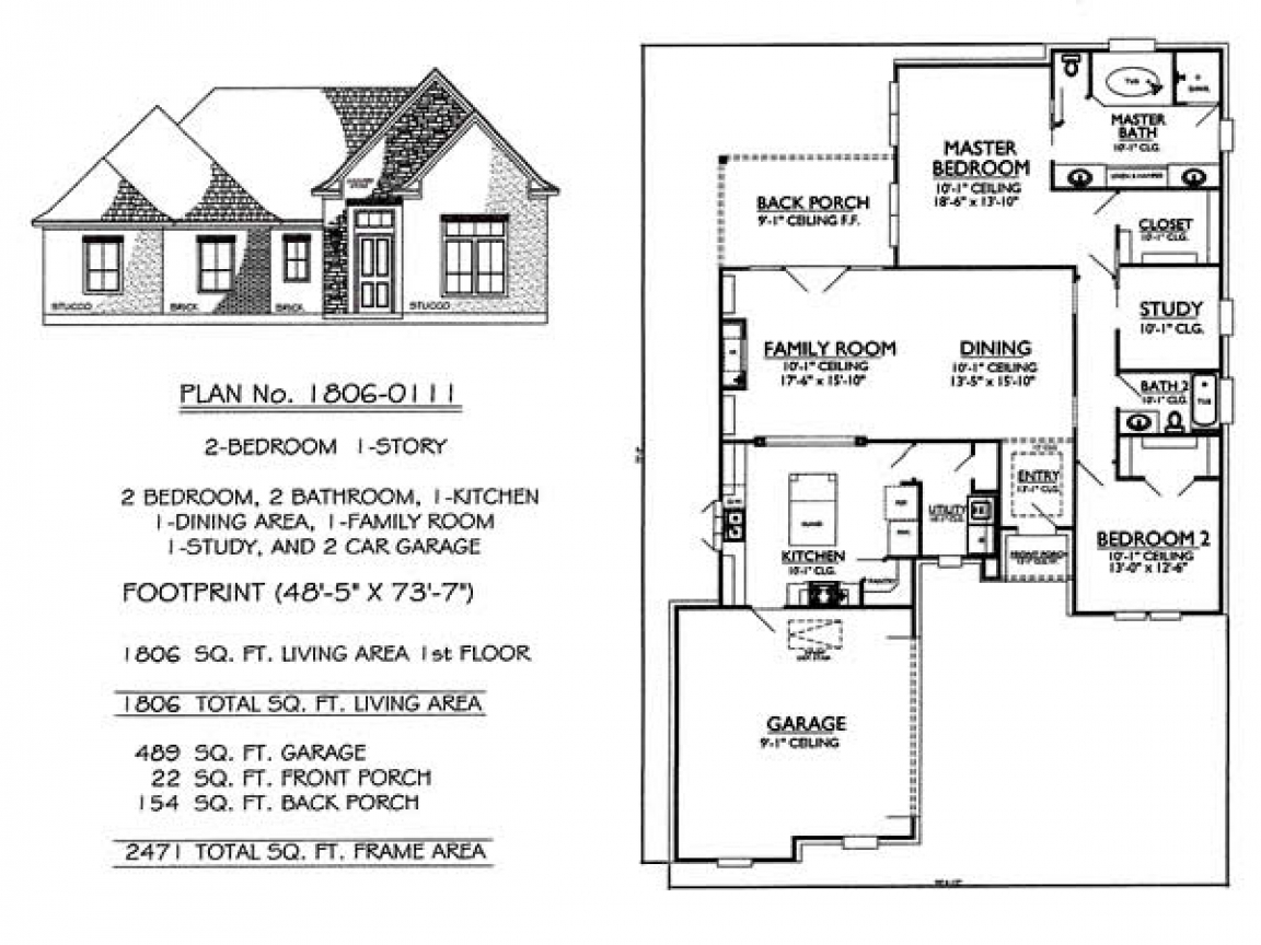 Story 2 bedroom 2 bathroom 1 dining room 1 family room for 3 bedroom 2 bath house plans 1 story
