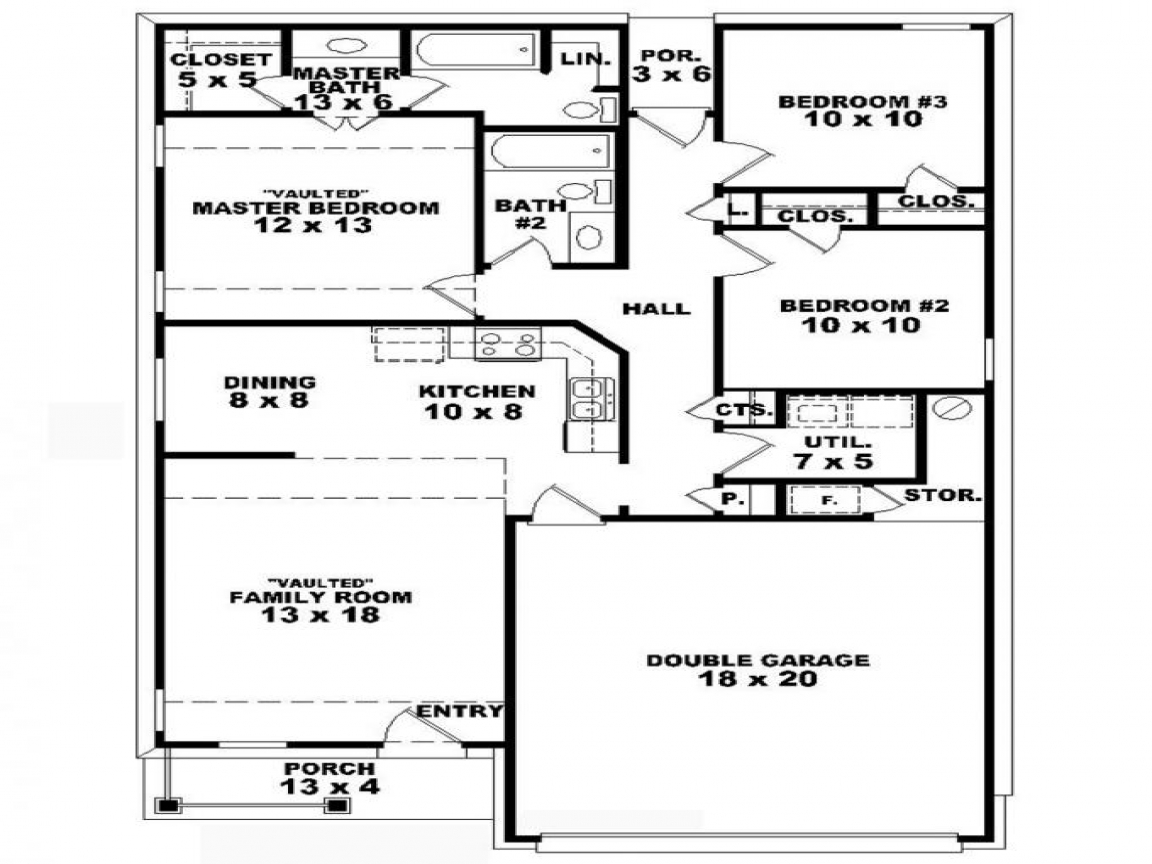 3 bedroom 2 bath house plans 3 bedroom 2 bath house for for Floor plans 3 bedroom 2 bath