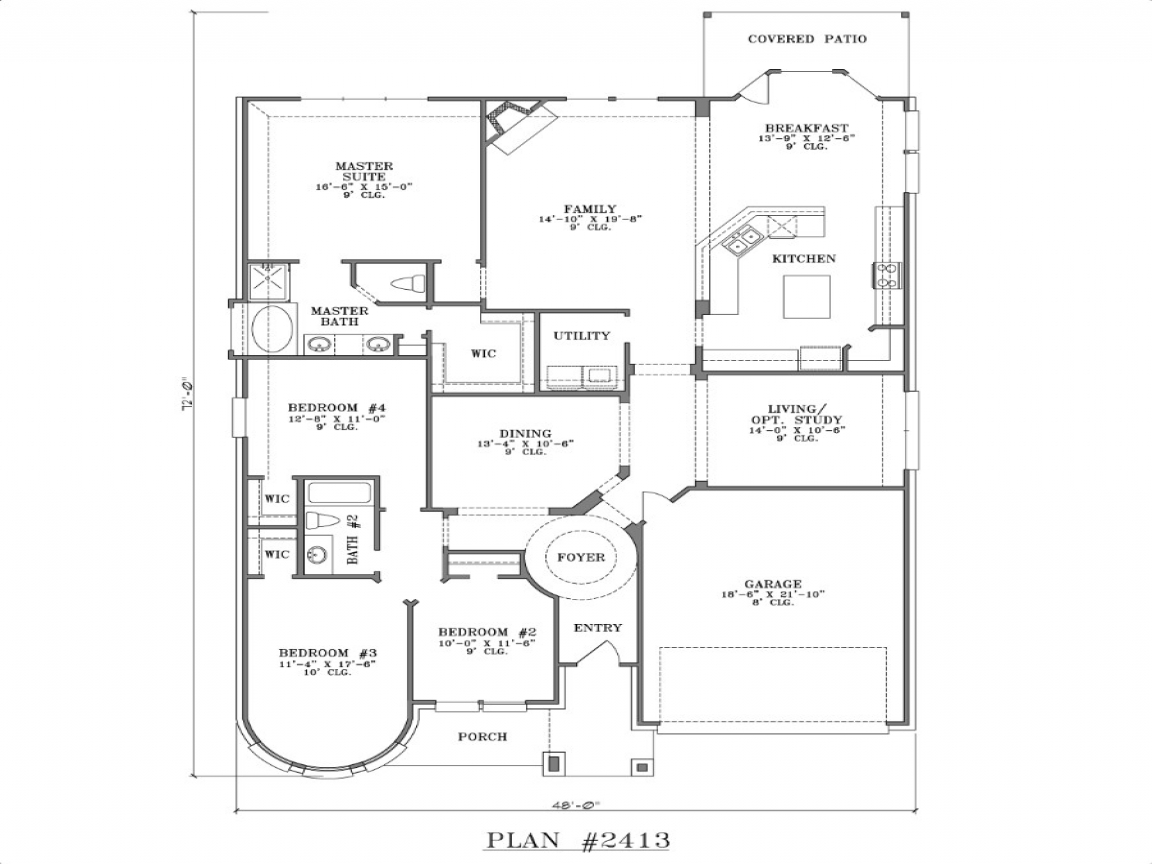 One story 4 bedroom homes 4 bedroom one story house plans for Four bedroom floor plans single story