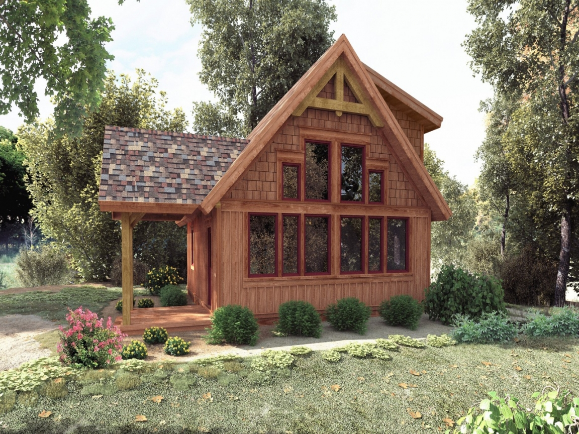 Small timber frame cabin plans small post and beam cabins for Small cabins and cottages