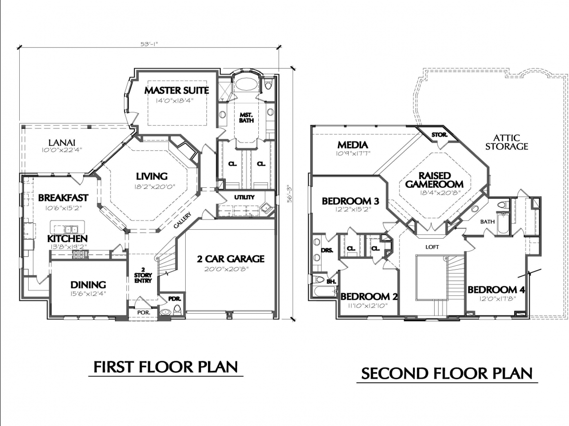 Two story house floor plans simple two story house two for Two floor house blueprints