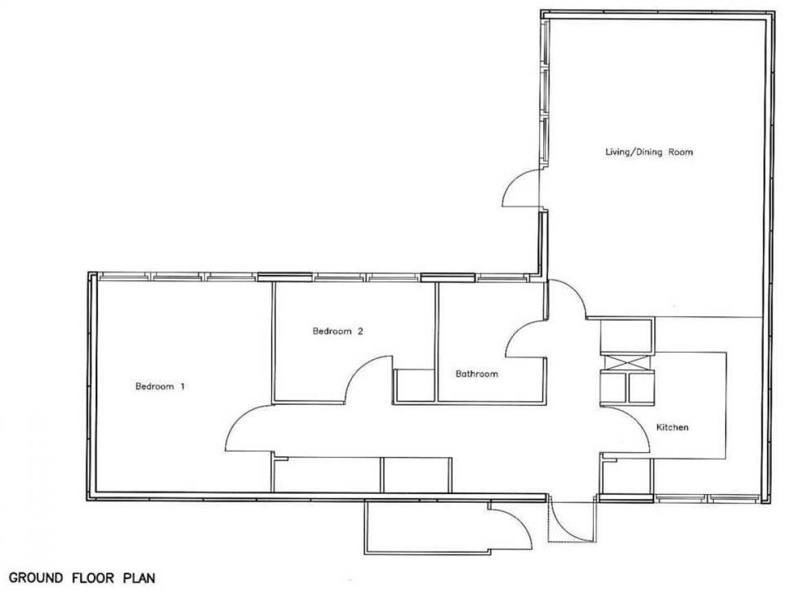 Loft bedroom 2 2 bedroom bungalow floor plan bungalow for Two bedroom house plans with loft