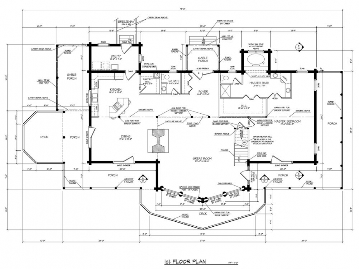 Log home house plans log home plans single story home for 1 story log home plans