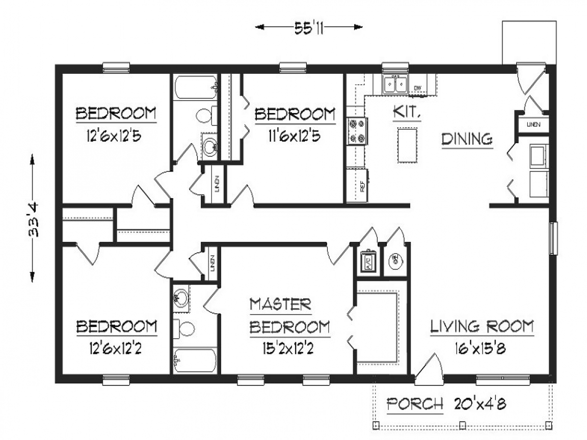 Small House Floor Plans Under 1000 Sq FT Simple Small
