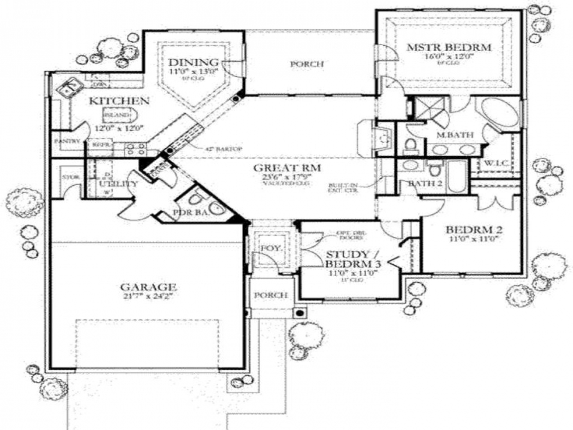 1500 sq ft house floor plans 1500 sq ft one story house for One story ranch house plans with basement
