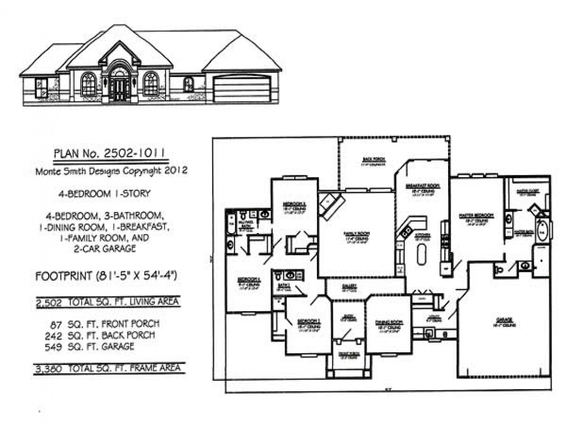 4 Bedroom Single Family 4 Bedroom One Story House Plans, 1 ...