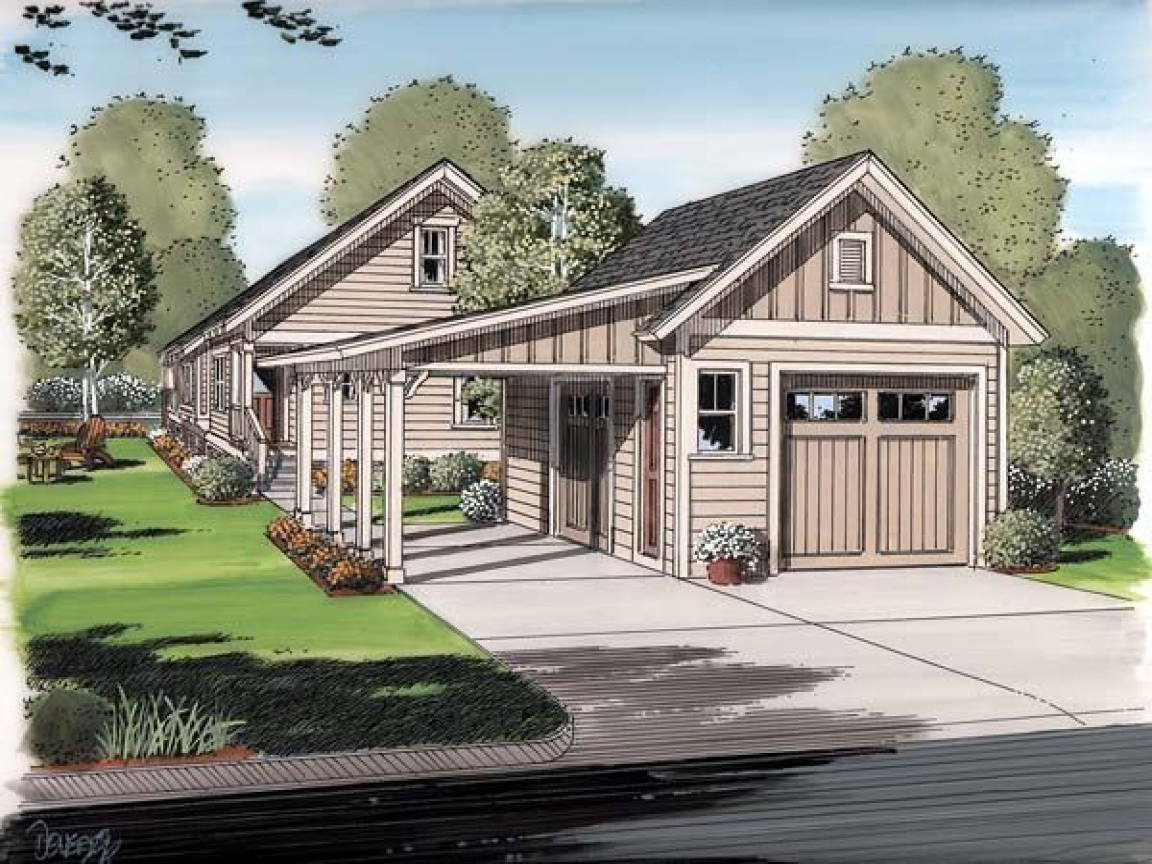 Cottage house plans with garage cottage house plans with for Bungalow house plans with wrap around porch