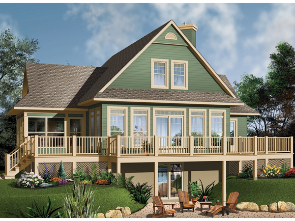 Lake house plans with basement lake house plans with rear for Lake view house plans