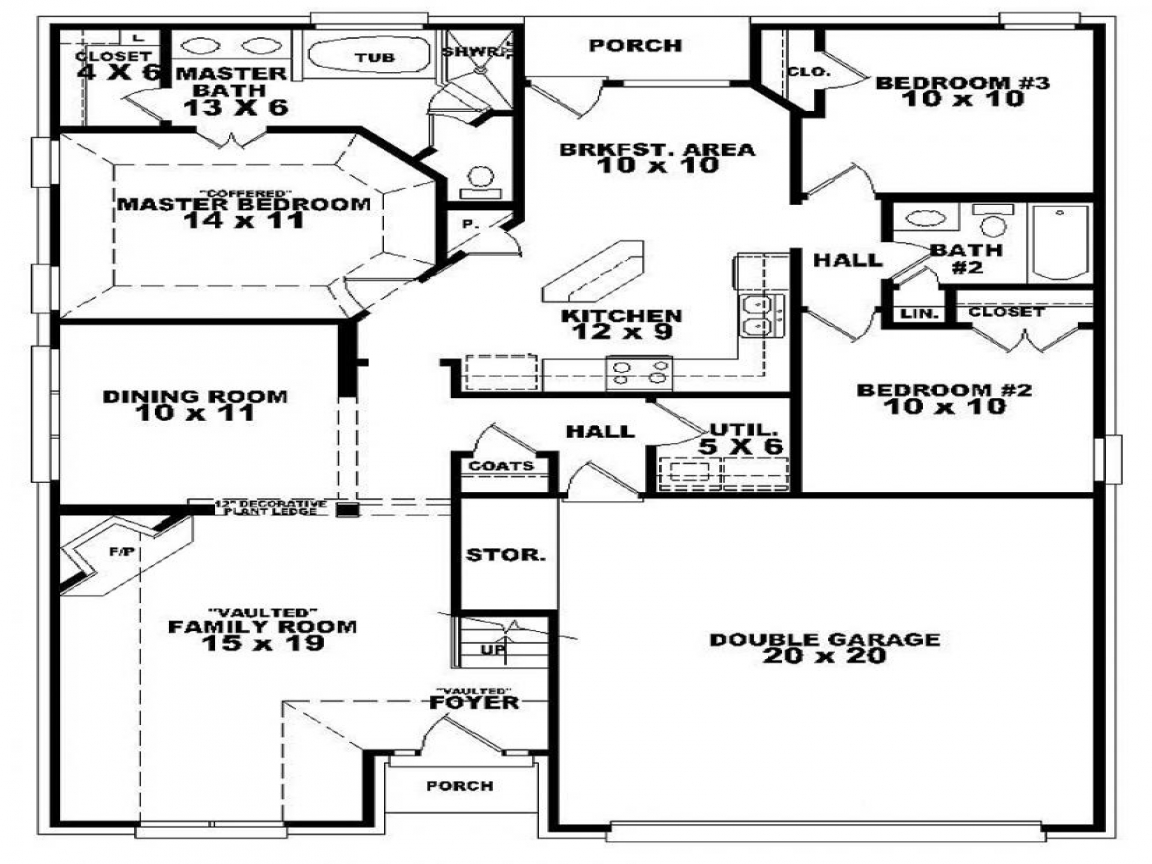 3 bedroom 2 bath house floor plan 3d 3 bedroom 2 bath for 2 bed 1 bath house plans