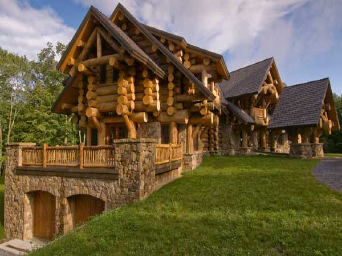 Rustic log cabin home plans rustic log cabin bathrooms for Log and stone house plans