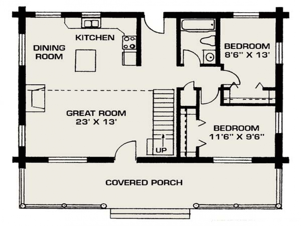 Small log cabins small log house floor plans small for 2 bedroom cabins to build