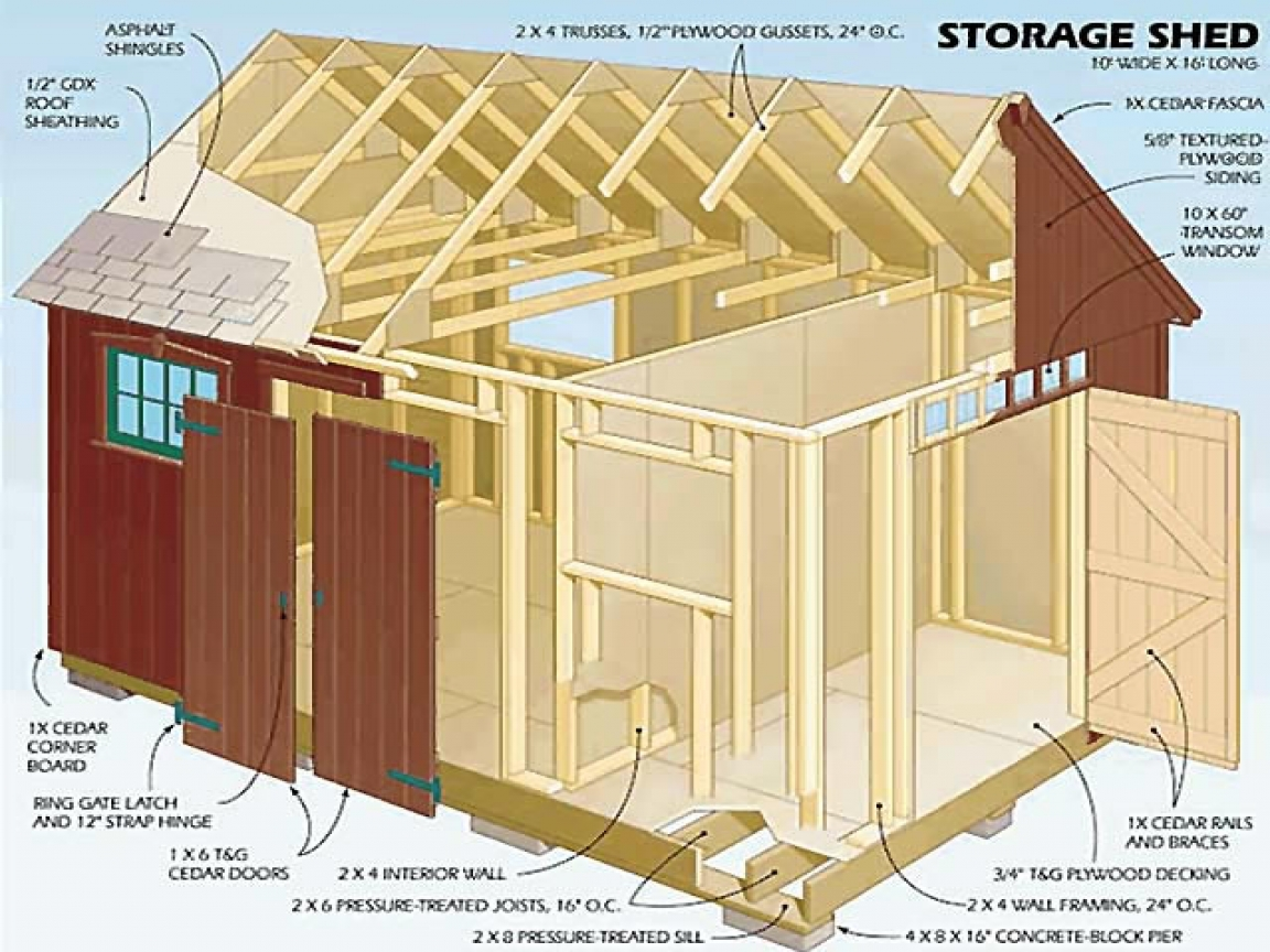 12x16 storage shed plans garden storage shed plans for Barn storage building plans