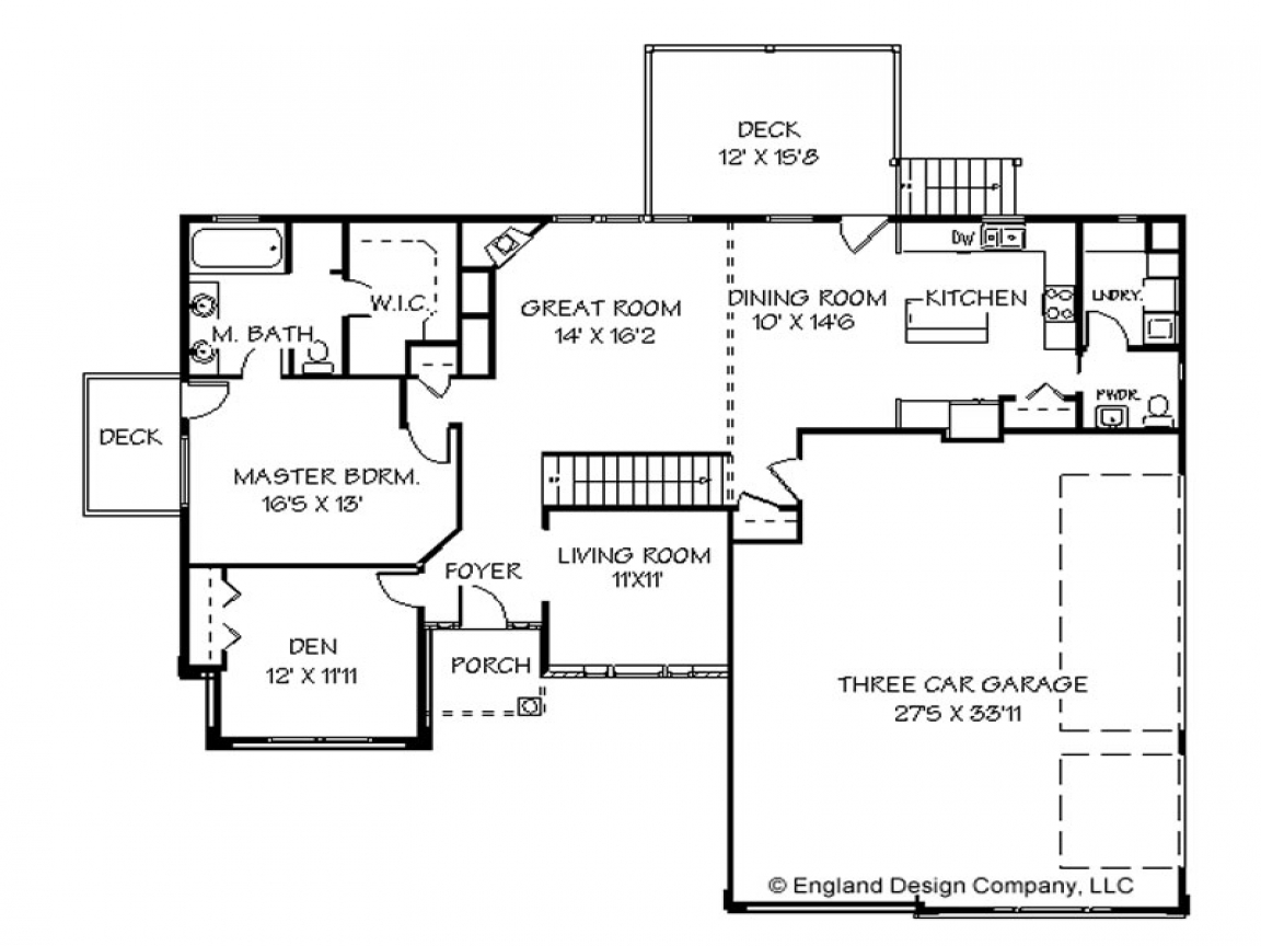 One story house plans one story house plans with wrap for Two bedroom house plans with porch