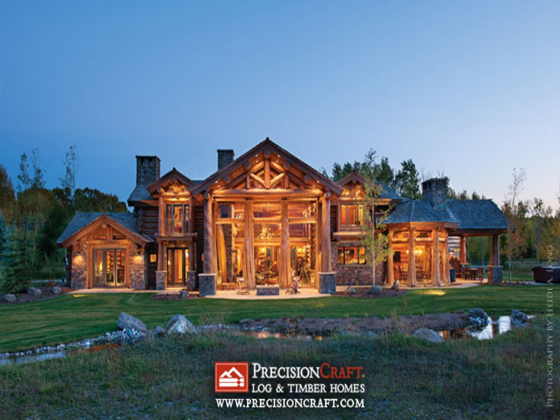 Log cabin modular homes handcrafted log home exterior log for Log home architects