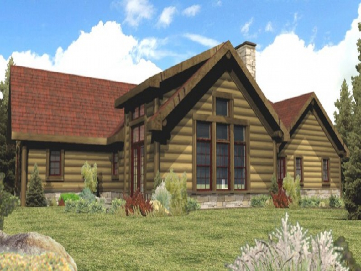 Single story log cabin homes plans single story cabin for One story mountain house plans