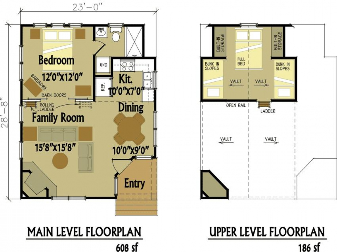 Small Guest House Floor Plans Small Cabin Floor Plans With