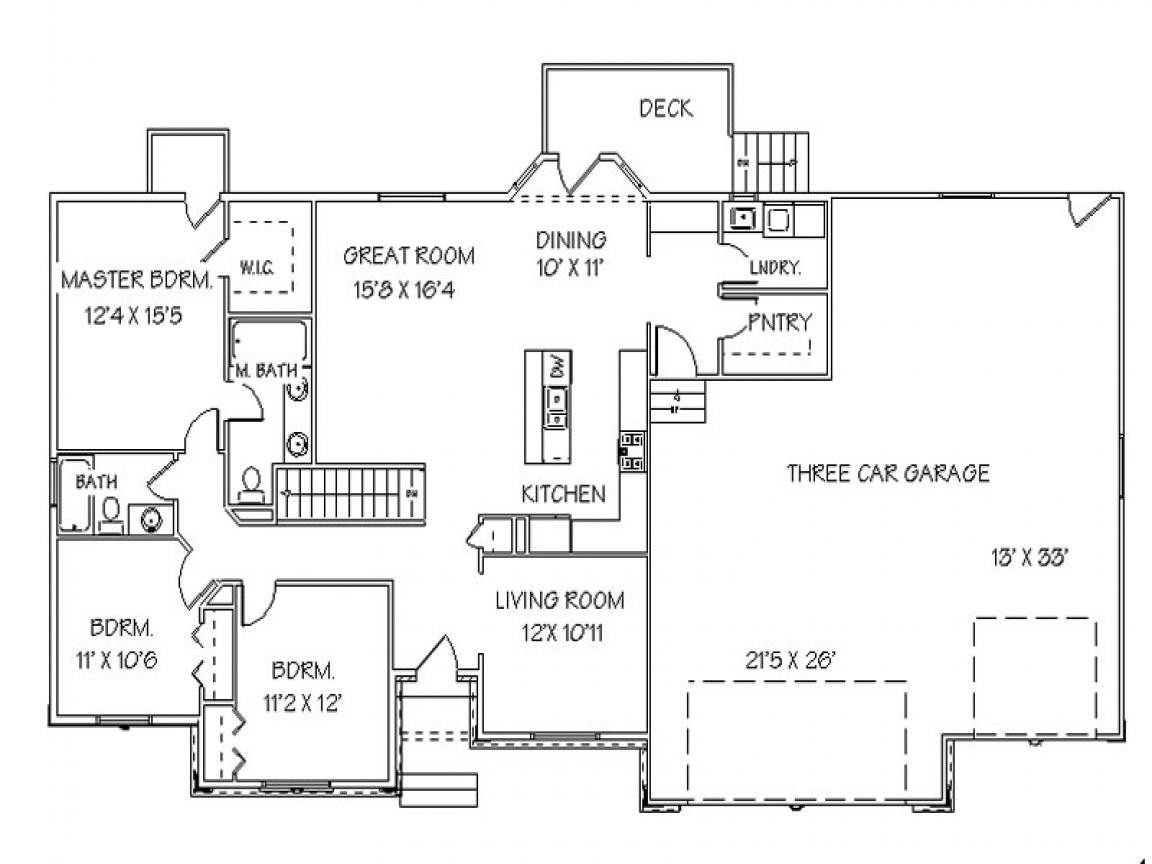 Single story open floor plans ranch house floor plans with for 3 bedroom house plans with garage and basement
