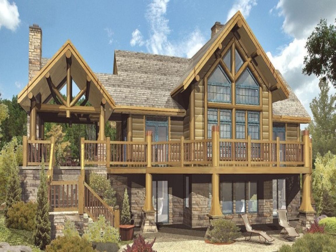 Log cabin homes floor plans big log cabins unique log for Unique log home floor plans