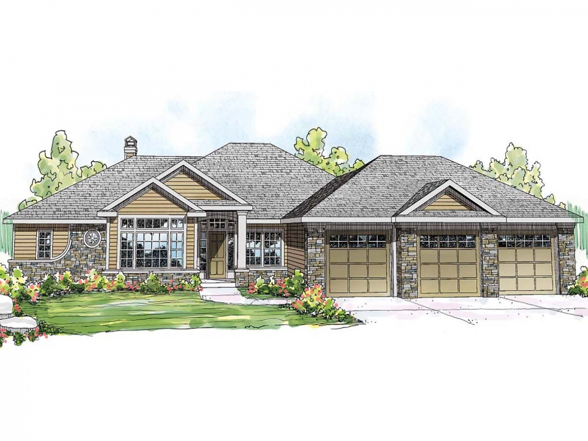 Ranch home exterior end view ranch style lake house plans for Ranch lake house plans