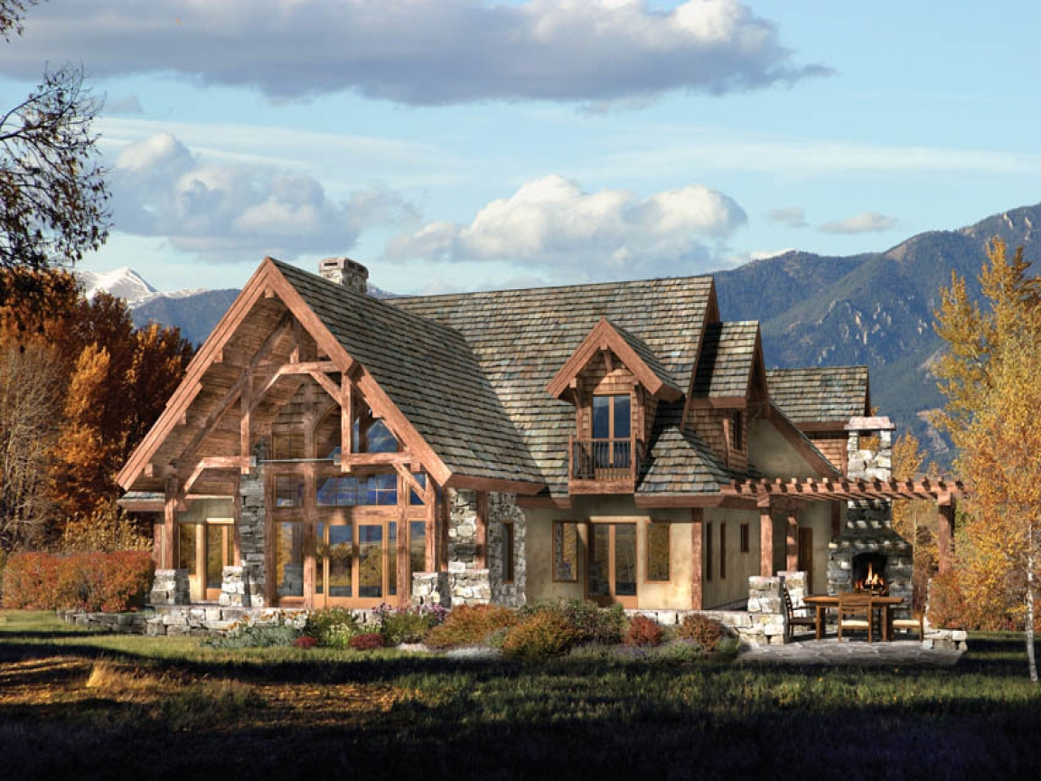 Small timber frame homes timber frame home house plans for Timber frame ranch home plans