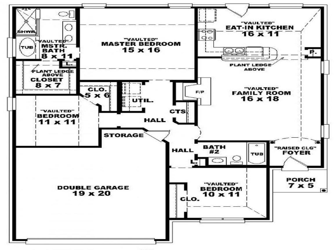 3 Bedroom 2 Bath 1 Story House Plans Floor Plans For 3 Bedroom 2 Bath House One Story 2 Bedroom