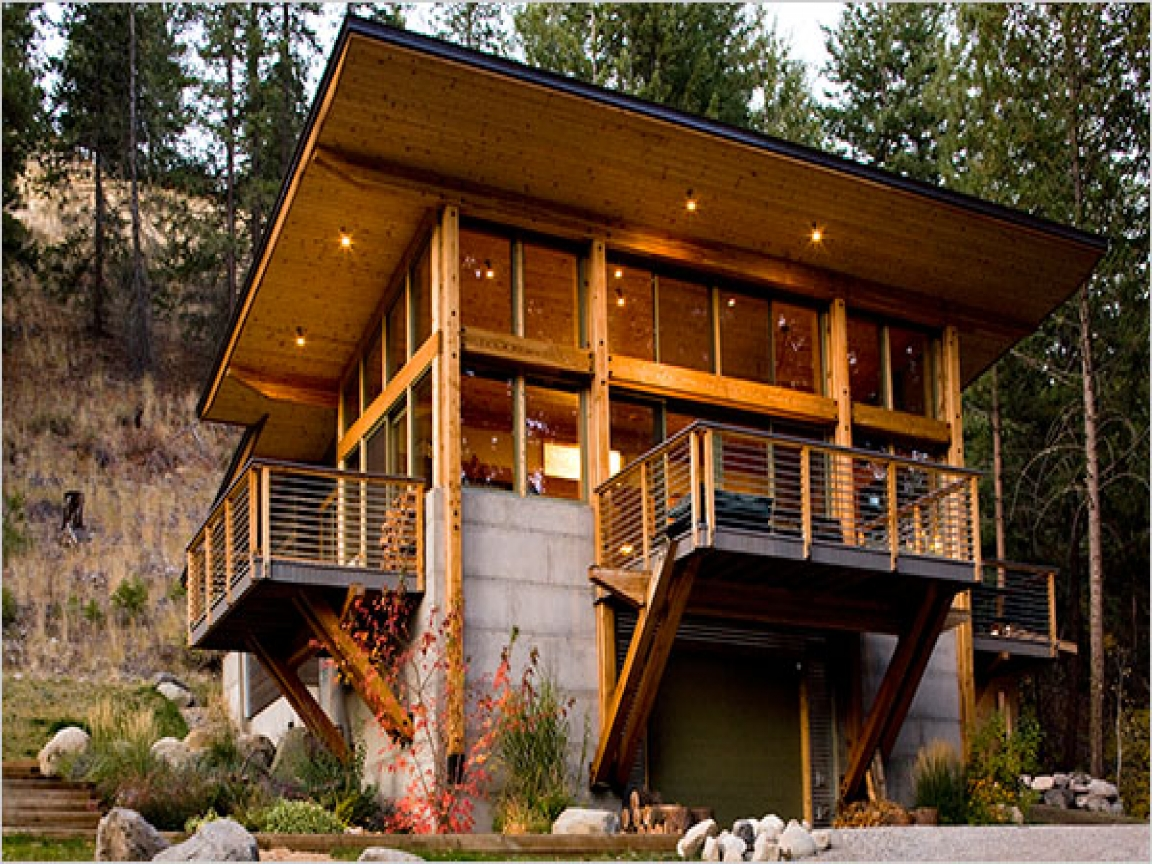 Modern mountain log cabin plans modern mountain cabins for Small mountain cabin plans
