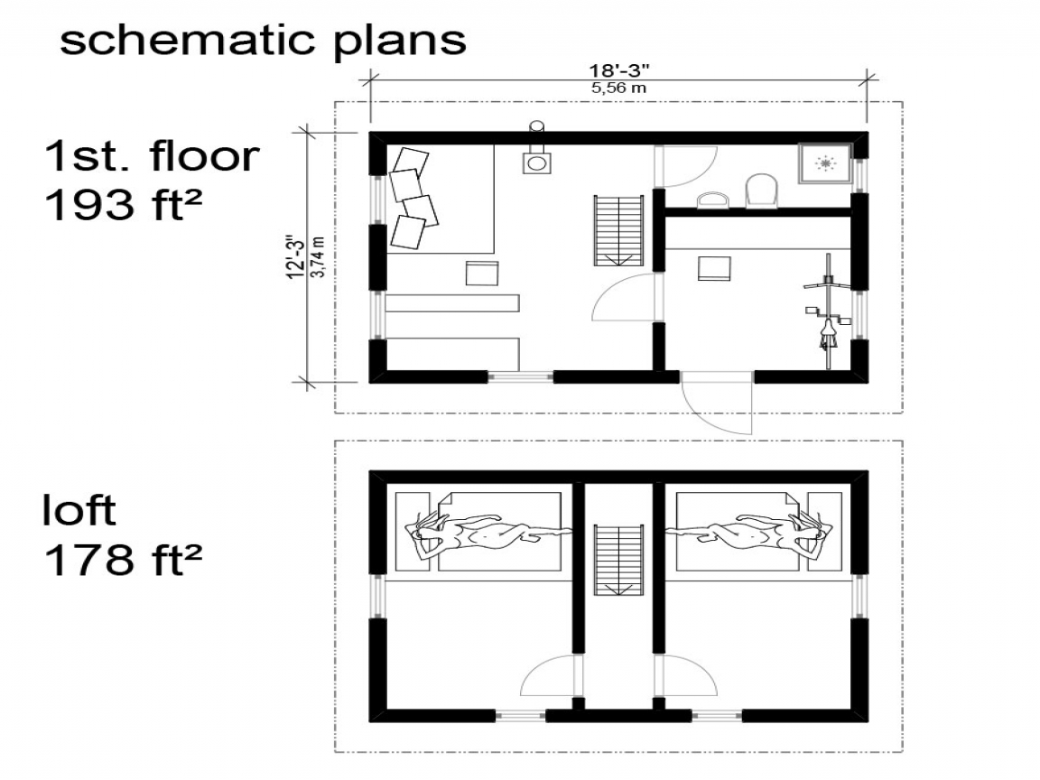 Small cottage floor plans with loft cottage cabin floor for Rustic home plans with loft
